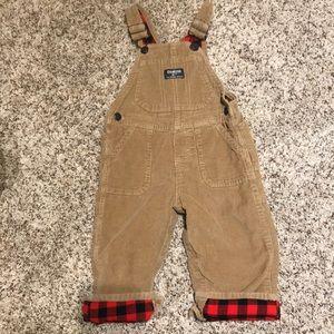 OshKosh corduroy overalls with  plaid lining